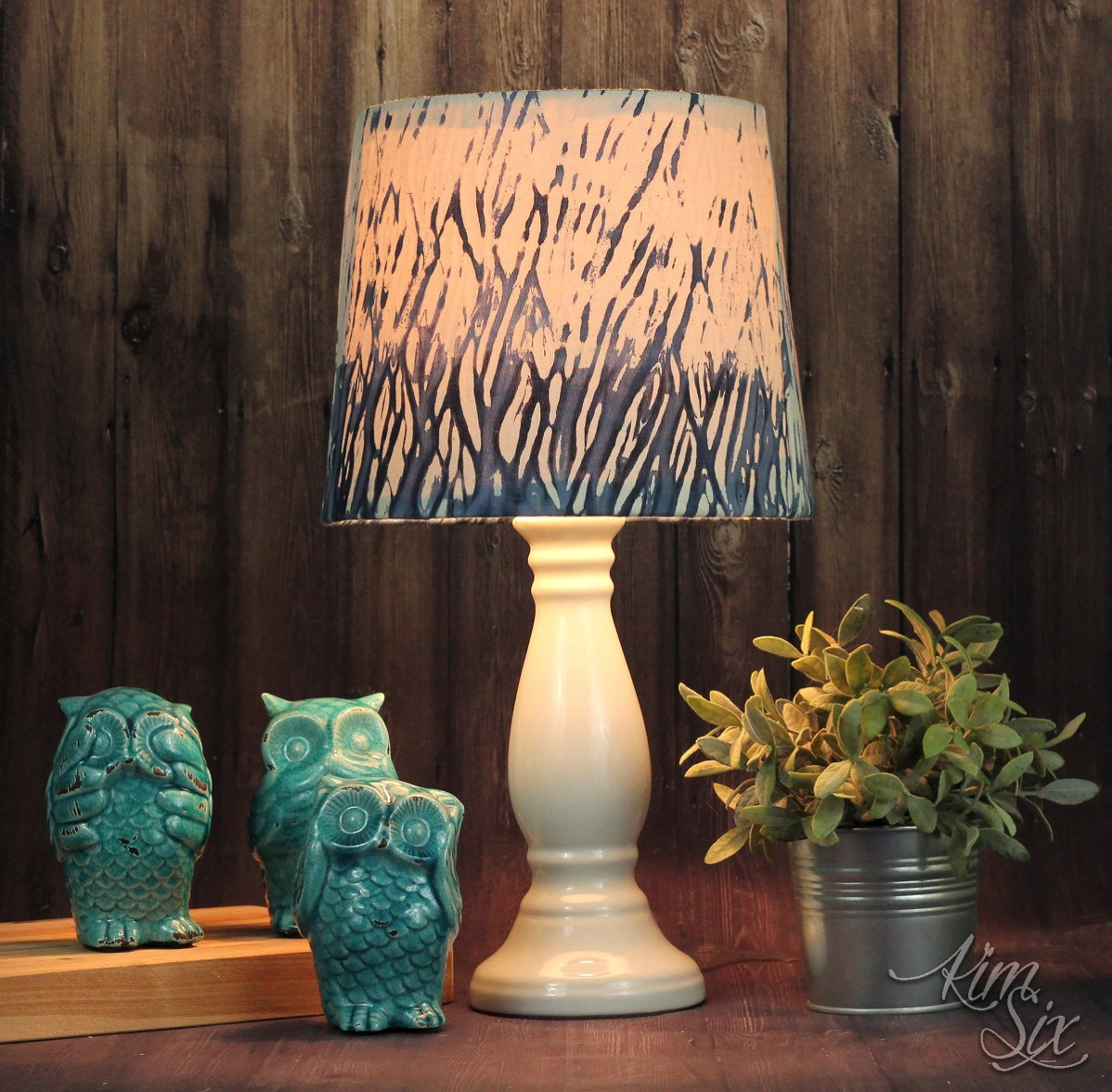 Shibori blue dyed lampshade
