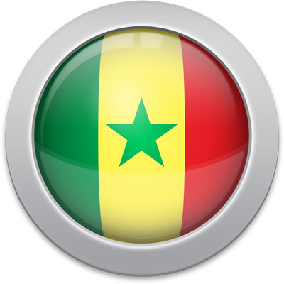 Senegalese flag icon with a silver frame