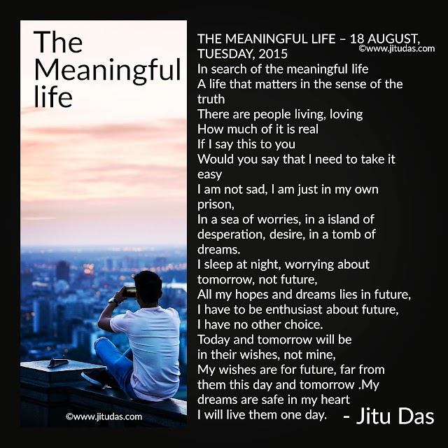 The meaningful life poem by Jitu Das English poems
