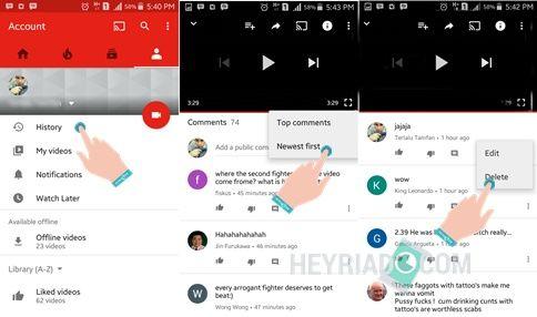 Cara Menghapus Komentar Youtube di Android 2 Cara Menghapus Komentar Youtube di Android