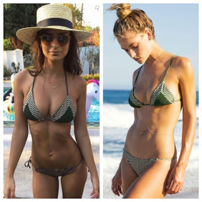 Emily Ratajkowski at Coachella in Tori Praver Lahaina Bikini in Ziggy Green Cactus