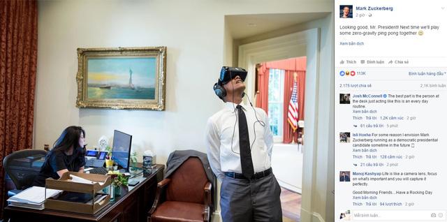 Mark Zuckerberg: Trông chất đấy thưa ngài Tổng thống! Lần tới chúng ta sẽ cùng nhau chơi vài ván bóng bàn trong môi trường không trọng lực nhé.