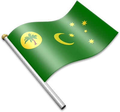 The Cocos Island  flag on a flagpole clipart image