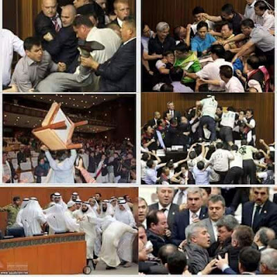 If you think it's only Nigerian legislators that fights during sessions , then you need to see this (photos)