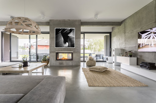 Minimalist interior design with architectural photography as focal point of room