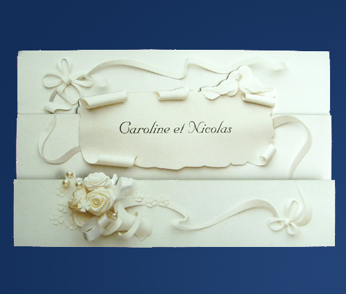 Invitación flores de fomi para boda