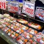 sushi on sale in tokyo in Tokyo, Tokyo, Japan