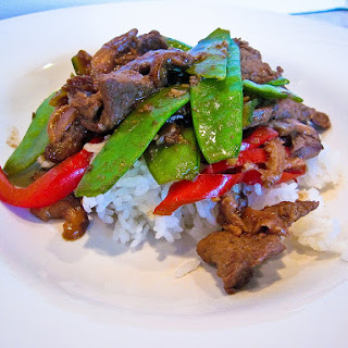 Stir Fried Miso Beef with Mushrooms & Pea Pods Recipe