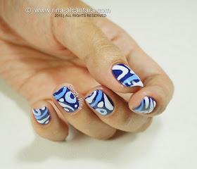 Nail Art - Blue Hoo
