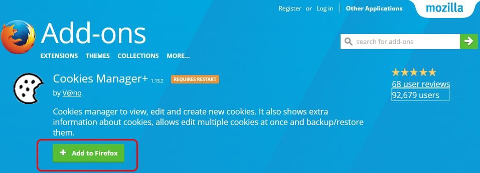 Cài đặt addon Cookies Manager để sử dụng Ahrefs free