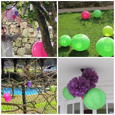 adornando el rbol principal montando los globos de papel vasitos para velas en el paseo de entrada decoracin de los faroles de los porches
