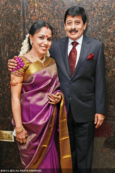 Singer Sudha poses with her husband Raghunathan during their son Kaushik's wedding in Chennai.