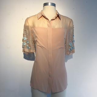 Rebecca Taylor Embellished Sleeve Blouse