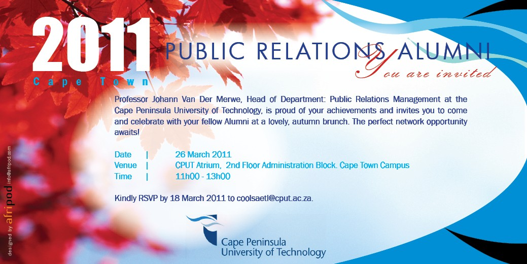 Pr chatbox march 2011 rolling out the red carpet for cput public relations management alumni stopboris Choice Image