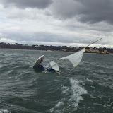 16 August 2014 - Poole ILB respond to a damaged hobie cat that's broken in half in gusty winds. Photo: RNLI Poole/Steve Porter