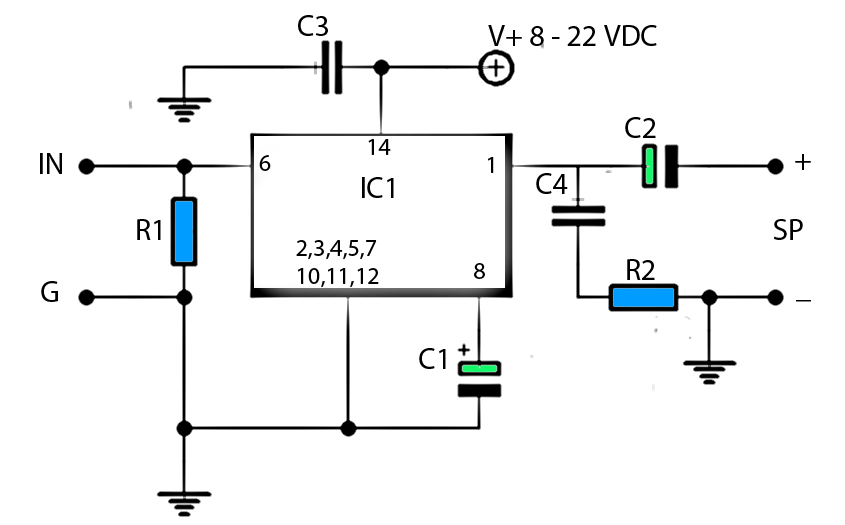 3 watt power amplifier schematic