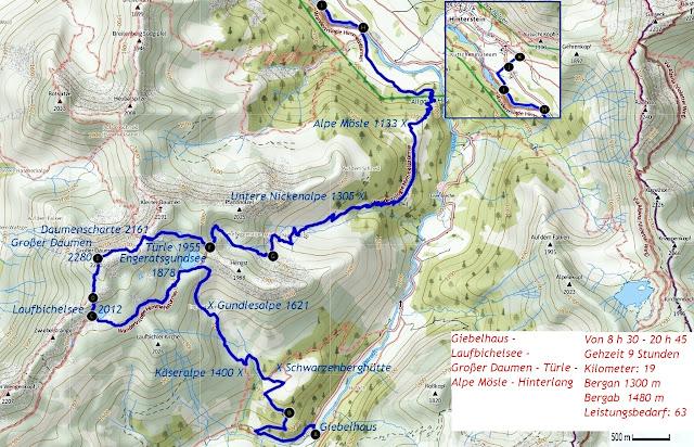 Map Karte Strecke Hinterstein Großer Daumen Allgäu Hindelang