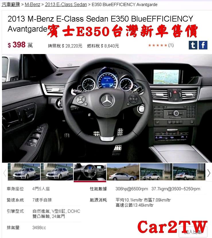 賓士E350新車售價