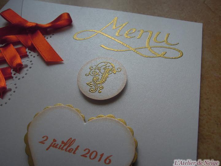 381 - Menu Mariage  Joëlle et Jean-Claude 2 juillet 2016