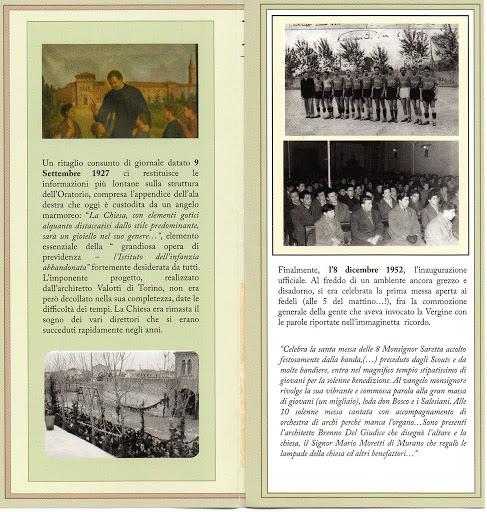 Volantino con la storia della chiesa dell'Oratorio