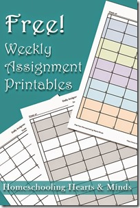 Free Weekly Assignment Printables