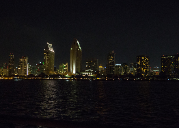 photo of the san diego skyline at night