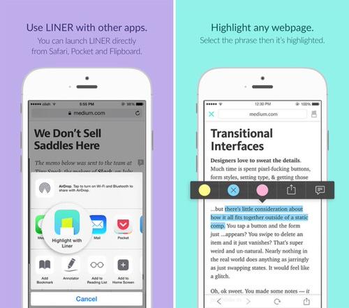ウェブページを蛍光マーカーでハイライトするiPhoneアプリ