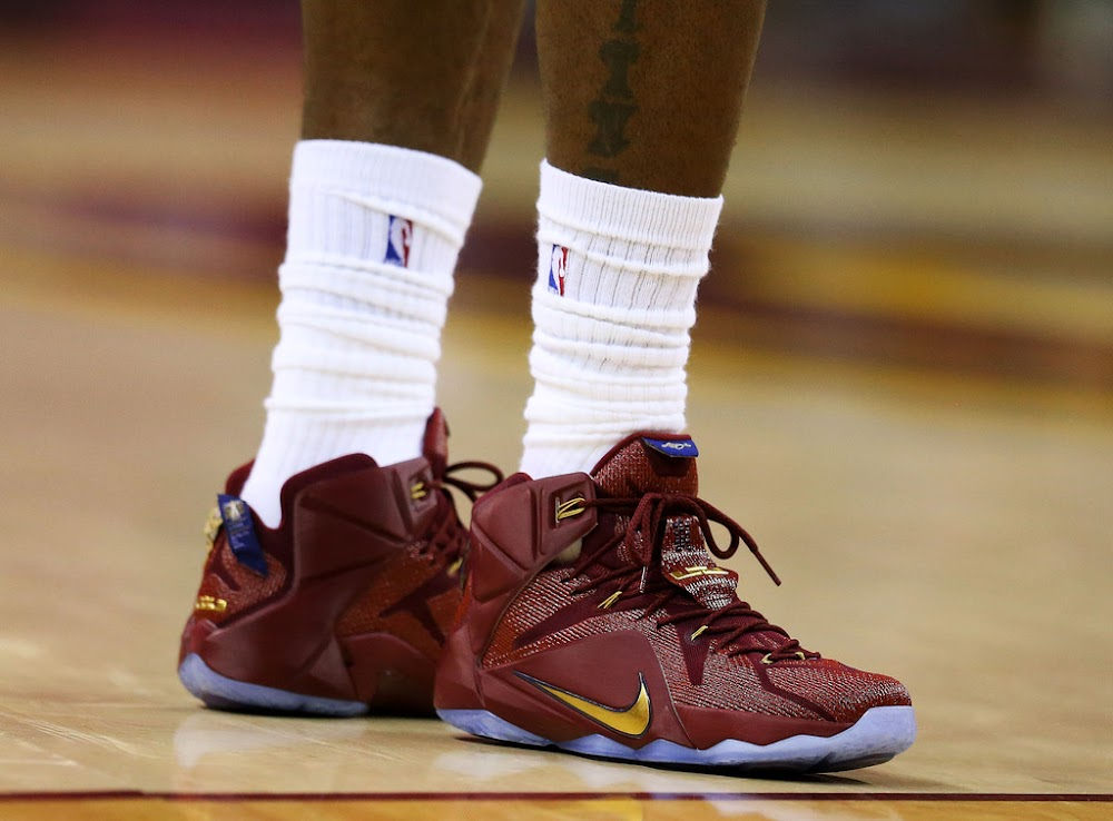 King James Wears WineampGold LeBron 12 PE in Game 4 Loss ... 51781cbe5785