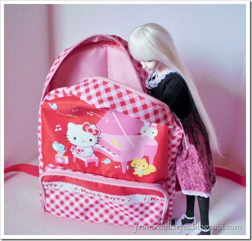 What's inside the Hello Kitty backpack?  Stuff for a bjd?
