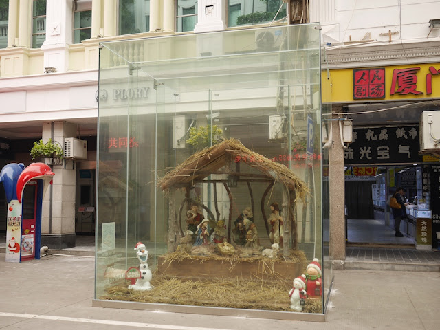 nativity scene with Olaf at the Zhongshan Road Pedestrian Street in Xiamen