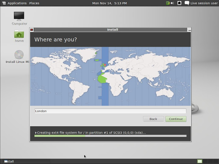 Linux Mint 12 RC Installer