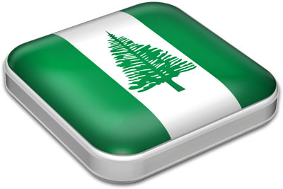 Flag of Norfolk Island with metallic square frame