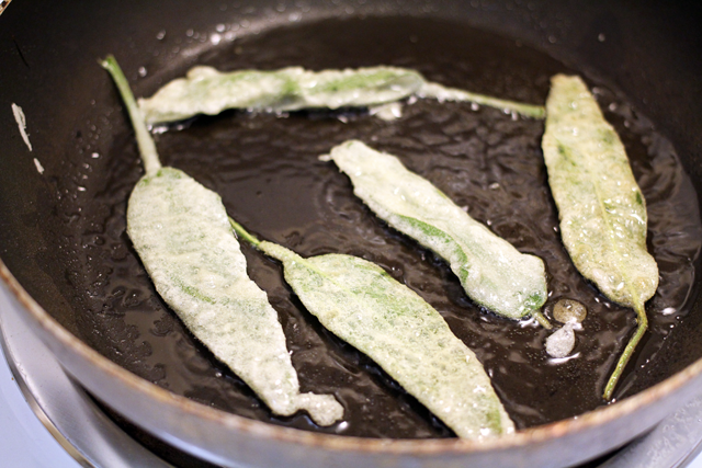 Batter fried sage leaves from dontmissdairy.com