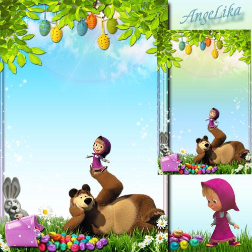 Детская рамка с героями мультфильмов - Праздник с Машей