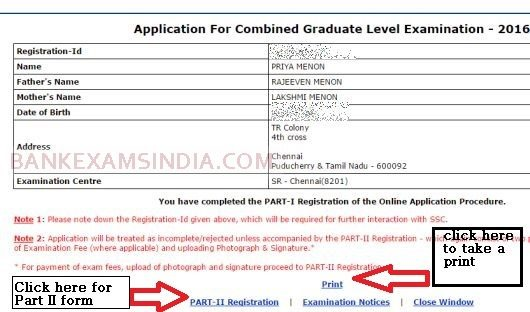 ssc cgl online application print 2