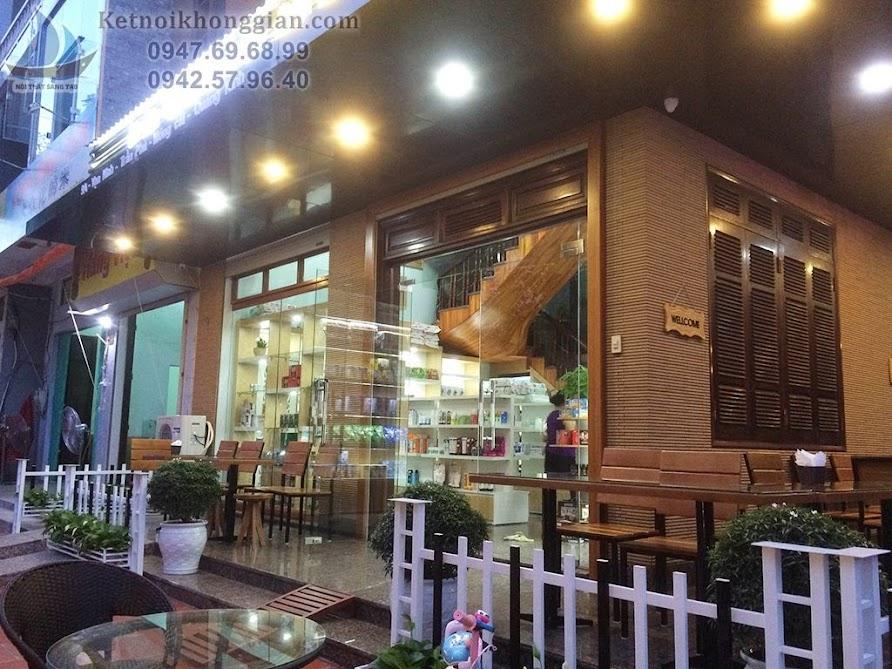 Thi công quán cafe lung linh vào buổi tối