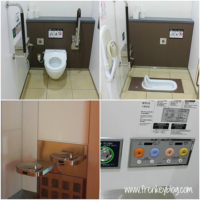 Clockwise : Toilet Duduk, Toilet Jongkok, Tombol Canggih ala Toilet Jepang, Refill Air Minum