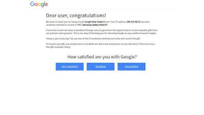 Hati hati Kedok Penipuan Memenangkan Hadiah Samsung Galaxy Note10 Mengatasnamakan dari Google