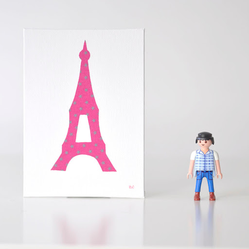 Grand cadre papillons Tour Eiffel Fuschia Mille Coquelicots