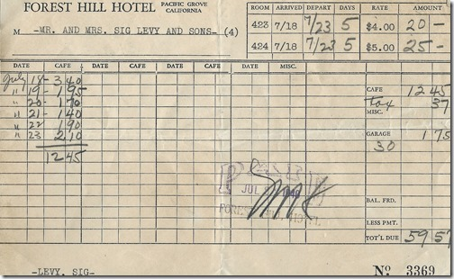 Forest Hill Hotel bill