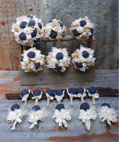 navy fabric flowers