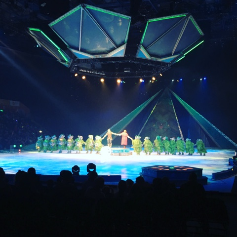 The trolls performing fixer upper from frozen disney on ice