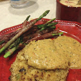 Pretty decent meal for leftovers- Grilled Crab Cake with Grilled Asparagus