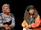 Sonia Sanchez at Dillard University for the Elizabeth Catlett tribute with Leah Chase, owner of Dooky Chase Restaurant. (Photos by Ellie Meek Tweedy.)