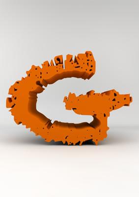lettre 3D chiffron de craie orange - G - images libres de droit