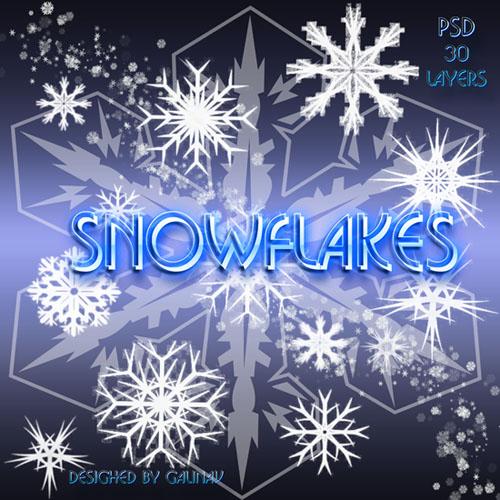 PSD клипарт Снежинки Snowflakes