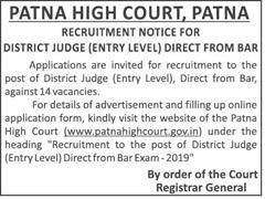 Patna High Court Advertisement 2019 indgovtjobs