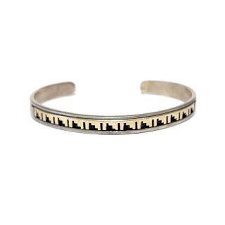 Sterling Silver and 14K Gold David Skeets Navajo Cuff Bracelet