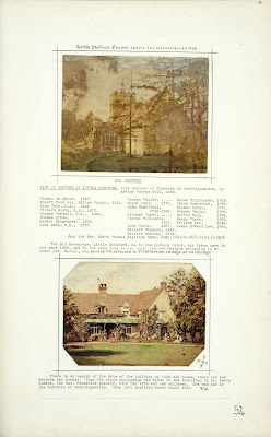 A Record of Shelford Parva by Fanny Wale P54 fo. 56, page 54: A painted photograph of Little Shelford church before restoration in 1879. List of rectors of Little Shelford, below that is a coloured photograph of the old parsonage, Little Shelford, c.1915. [fo.44]