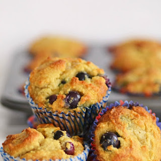 Gluten Free Blueberry Muffins Made with Almond Flour.